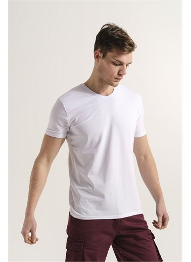 Oksit Riley V Yaka Slim Fit Basic Erkek Tshirt  Beyaz